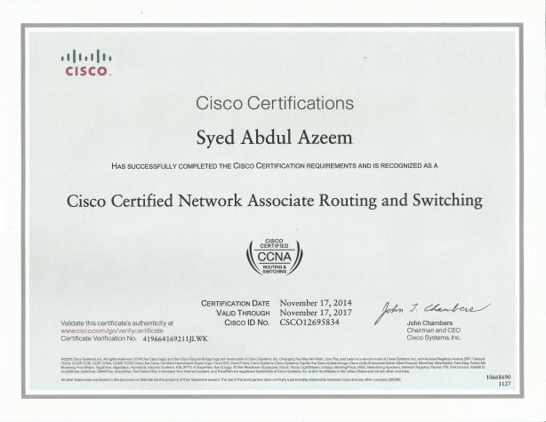 Syed Abdul Azeem CCNA Certificate