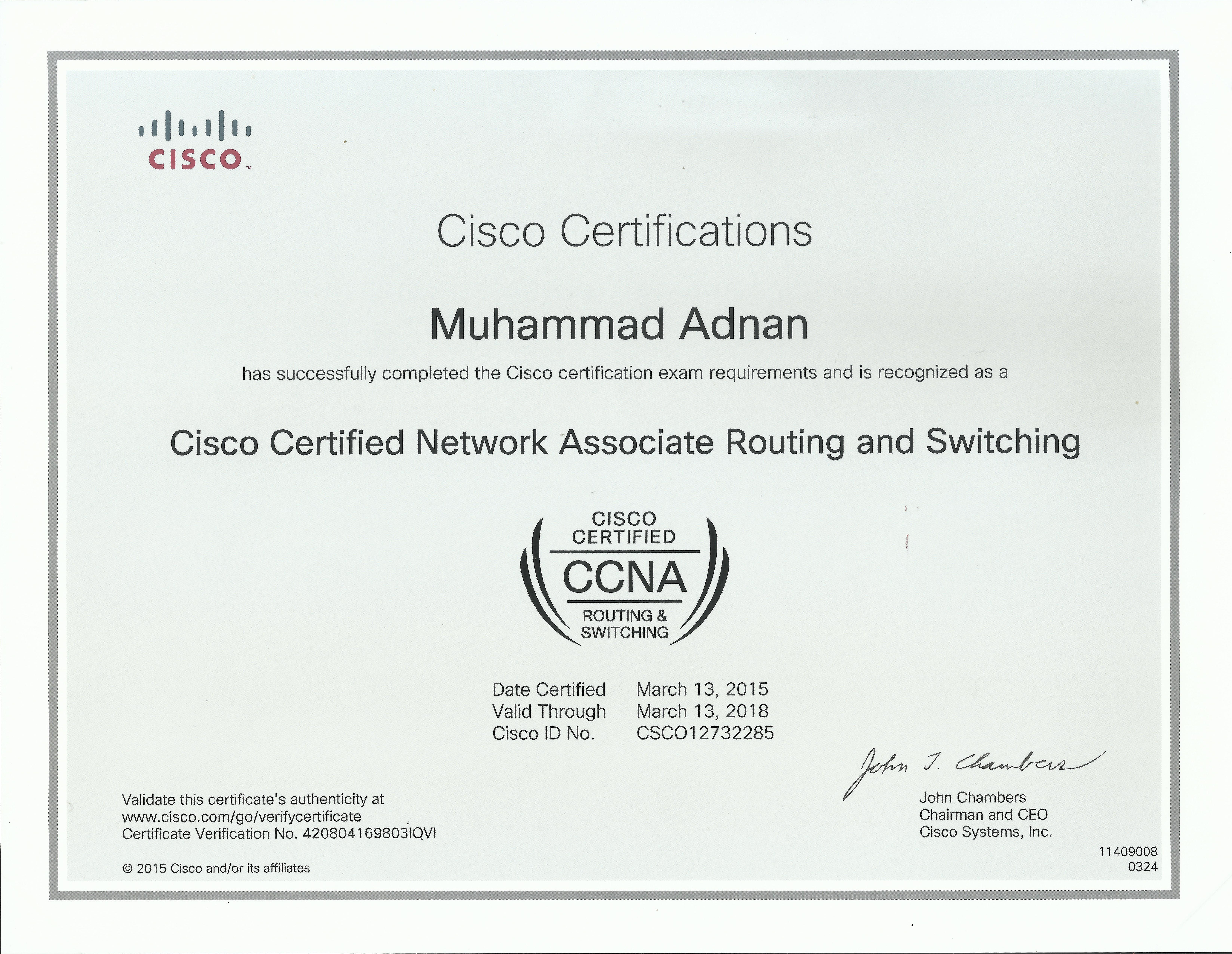 Congratulation To Muhammad Adnan W Received Last Day His Ccna