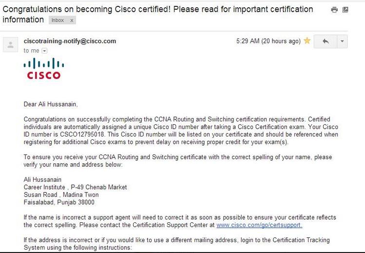 Another Success Story Career Institute Faisalabad Cisco