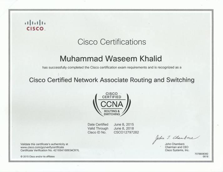 Ali Hussanain CCNA Certificate   CCNA in Faisalabad