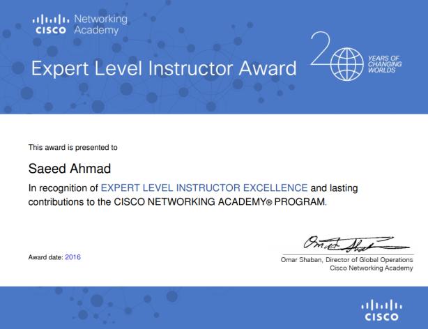 Cisco Expert Level Instructor Award Saeed Ahmad Career Institute Pakistan