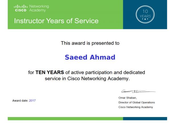 10 years service award