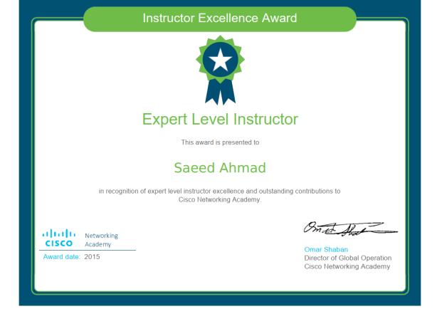Expert Level 2015 award